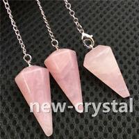 Natural Rose Quartz Crystal Chakra Pendulum Healing Dowsing Pendant Chains 1pc
