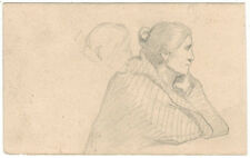Two drawings by Russian artist M.D.Mikhailov SITTING WOMAN and PEOPLE ON BENCHES