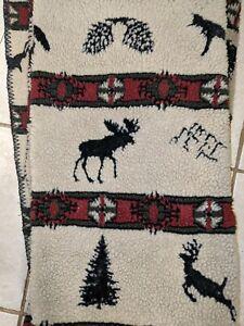 Woolrich Throw Blanket wool deer bear hunting print beige red western b20