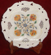 """Handicrafts Marble Inlay Round 7"""" Inch Plate, Home Decor Marble Inlay Plates"""