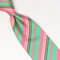 John G Hardy Mens Shantung Silk Necktie Pik Green Yellow White Stripe Weave