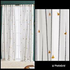 NWT TWO (2) Anthropologie Tasseled Nara Curtain Panels Black White Stripe 108x50