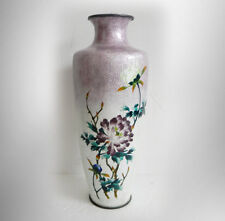 Japanese ginbari shippo cloisonne and enamel vase - Meiji - FREE SHIPPING