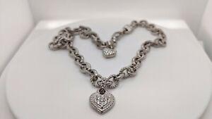 "Judith Ripka 18K Gold & Diamond Heart Charm Textured Link Necklace -75.6g - 18"""