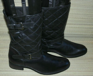 WOMENS BLACK PULL ON SYNTHETIC QUILTED MID CALF BOOTS SIZE:8/42 NEW