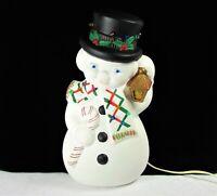 Vintage 1976 Ceramic Snowman W/ Multicolor Christmas Lights