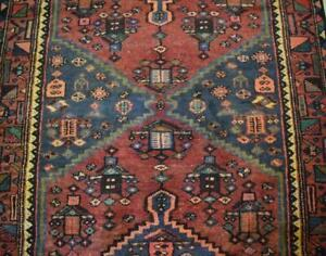 3'5 x 10'2 Semi Antique Kurdish Tribal Handmade Oriental Carpet Wool Runner Rug