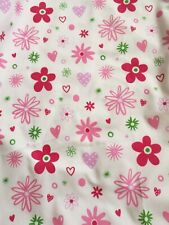 fabric offcut white with pink red purple flowers,heart new unused crafting