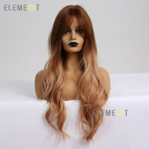 Brown Blonde Natural Wavy Hair Wigs for Women Long Body Wave Party Cosplay Wig