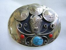 VINTAGE NORTH AMERICAN INDIAN HEAVY SILVER BELT BUCKLE with CORAL & TURQUOISE G