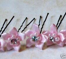 Pretty Pink Silk Flower Bridal Bride Wedding Proms Party Flower Girl Hair Pins