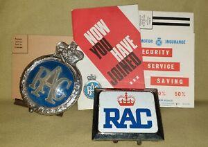 2 Vintage R.A.C. Car Badges with Ephemera from a Vintage Membership Pack