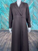 Soft Surroundings Women's Quintessa Tencel Maxi Dress XS Brown Wrap Snap Closure