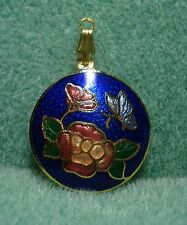 Vintage Guilloche Enamel Cloisonne Rose Flower Butterfly for Necklace Retro Mod