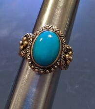 Barbara Bixby 925 Sterling Silver & 18k Yellow Gold Turquoise Ring Size 8
