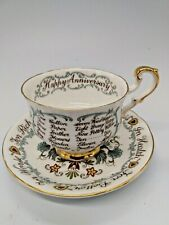 Paragon England Bone China Cup & Saucer Happy Anniversary - Rare!