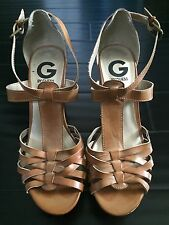 GUESS Woman's Size 7 Brown Wedge Cork Wedges Heels