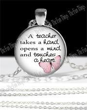Teachers Quote Necklace Glass Pendant Rolo Chain Appreciation Gift