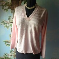 Ladies Pink Women's Long Sleeve Cable Knit Sweater Cardigan Top Size Large