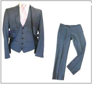 "Next mens 3 piece suit SLIM FIT Ch40""S W32"" L29"" Blue Sharkskin Wedding"