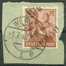 SBZ Bezirkshandstempel MiNr. 174 X  41 Werdau 2 Briefstück gepr. Dr. Kalb BPP