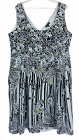 City Chic Womens Black/White Floral Sleeveless Lined Dress Plus Size M