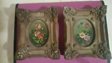 Pair of miniature Oil On wood still life floral study paintings plaster frame