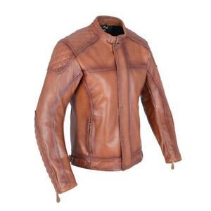 Oxford Hampton Leather Motorcycle Motorbike Classic Riding CE Jacket - Bourbon