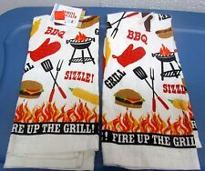"2 SAME PRINTED KITCHEN TOWELS (15"" x 25"") BBQ, FIRE UP THE GRILL"
