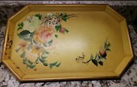 """VINTAGE PASTEL YELLOW FLOWERED FOOD TRAY BY NASHCO PRODUCTS NEW YORK 16 1/2"""""""