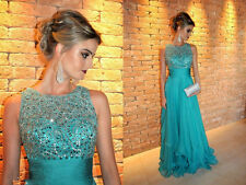 Fancy Long Evening Dresses Beaded Vestidos Prom Party Dress A Line Bridal Gowns
