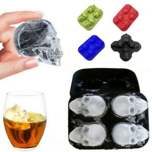 Silicone 3D Skull ICE Cube Trays Round Ball Sphere Mold Maker Whiskey Cocktail W