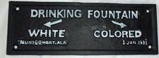 Cast Iron Segregation DRINKING FOUNTAINS WHITE COLORED Black AMERICANA PLAQUE