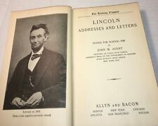 1928 ABRAHAM LINCOLN ADDRESSES AND LETTERS 252 Pages HC Book Allyn Bacon Avent