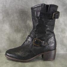 "UGG Black Crosscut Leather Black Cowboy Biker 2"" Heel Ankle Boots Wom Size 6 ANB"