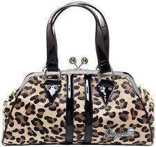 Sourpuss Temptress Natural Tan Faux Leopard Fur Kiss Lock Purse