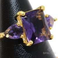 Antique 3CT Purple Amethyst Ring Women Birthday Jewelry 14K Rose Gold Plated