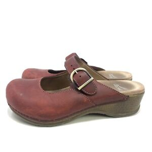 Dansko Women's Martina Oiled Leather Antique Brown Mules Size 38 (US 7.5-8)