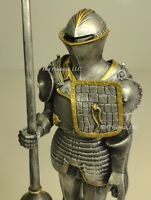 """14"""" MEDIEVAL TIMES CRUSADES in JOUSTING ARMOR KNIGHT STATUE W LANCE"""