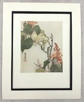 1985 Print Chinese Painting Dove White Birds Tree Blossom Liu Kuiling RARE
