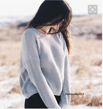 Brandy melville baby blue Crewneck loose cable knit pullover bronx sweater NWT