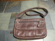 Medium Brown Leather Fossil Crossbody/carry all/ shoulder bag/purse.