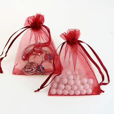 25Pcs Organza Wedding Party Favor Gift Candy Bag Packing 7X9cm(Wine Red)