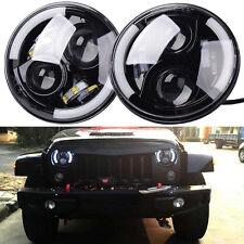 "2X 60W 7"" ROUND LED Headlights Angel Eyes for Jeep Wrangler JK TJ LJ CJ Hummer"
