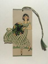 Vintage 1920s Lady in Flowing Dress w/ Colorful Hat Bridge Game Tally