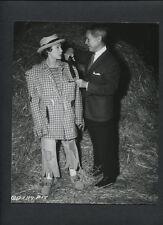 JUNE ALLYSON IN SCARECROW COSTUNE WITH DESIGNER JEAN LOUIS - 1955 CANDID