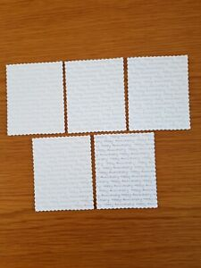 5 die cut repetitive text panels Happy Anniversary card topper embellishments