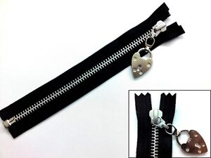 Zip, Zipper, Padlock Puller, Open End, Separating, Metal, YKK, Black