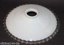 JUGENDSTIL Lampenschirm Röckchenschirm Glas opal angeschmolzener Klarglasrand #2