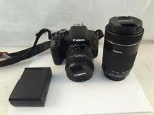 Canon EOS Rebel T7i 24.2MP Black DSLR Camera with EF-S 18-55mm & 55-250mm Lenses